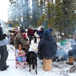 Dinner and bonfire and later Northern Lights viewing over the Takhini River Winter 2012/2013