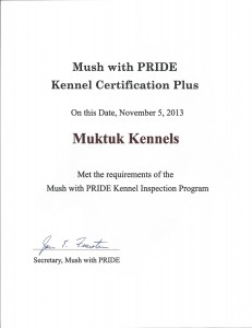 Mush With PRIDE Certificate