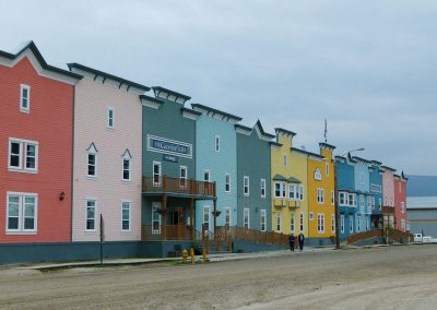 colorful buildings along a street front
