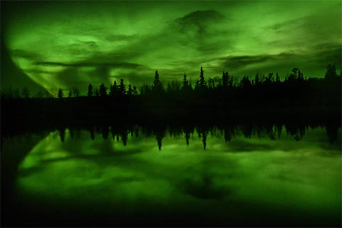 Yukon Northern Lights reflected over water with treeline in distance, taken in the fall
